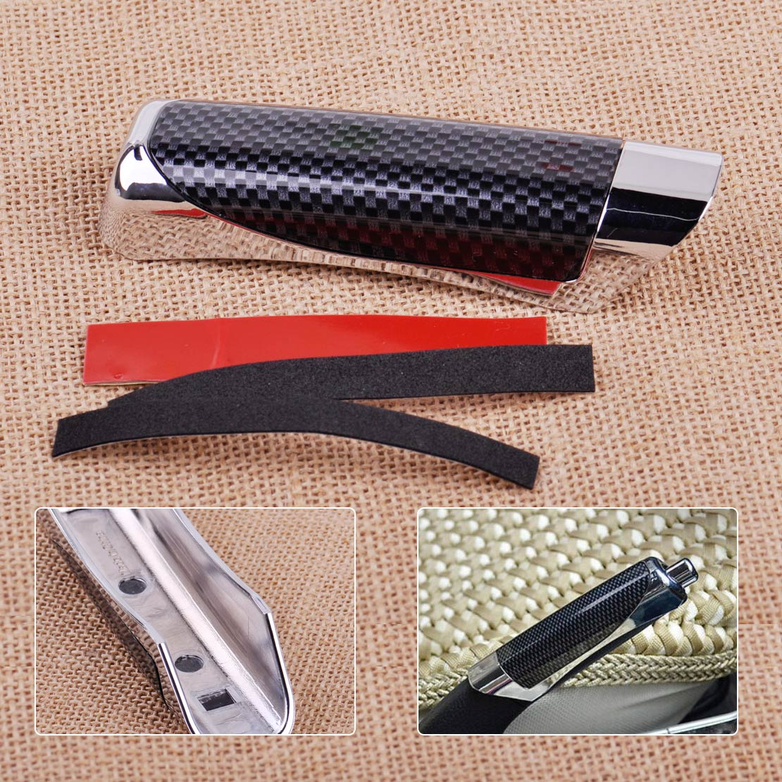 Durable Car Carbon Fiber Style Hand Brake Handle Hand Break Protect Cover New x1