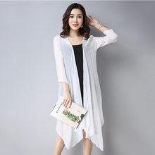 2018 verano nuevas mujeres algodón Lino Retro protector solar ropa larga suelta talla grande 3XL nueve cuartos aire acondicionado camisa LQ146