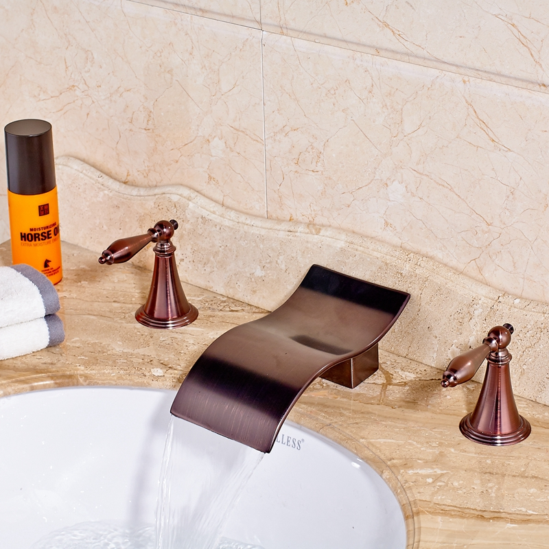 Newly Widespread  Oil Rubbed Bronze Red Basin Bathroom Mixer Tap Dual Handles Sink Bathroom Faucet Mixer newly jade toothbrush holder rack oil rubbed bronze dual cup