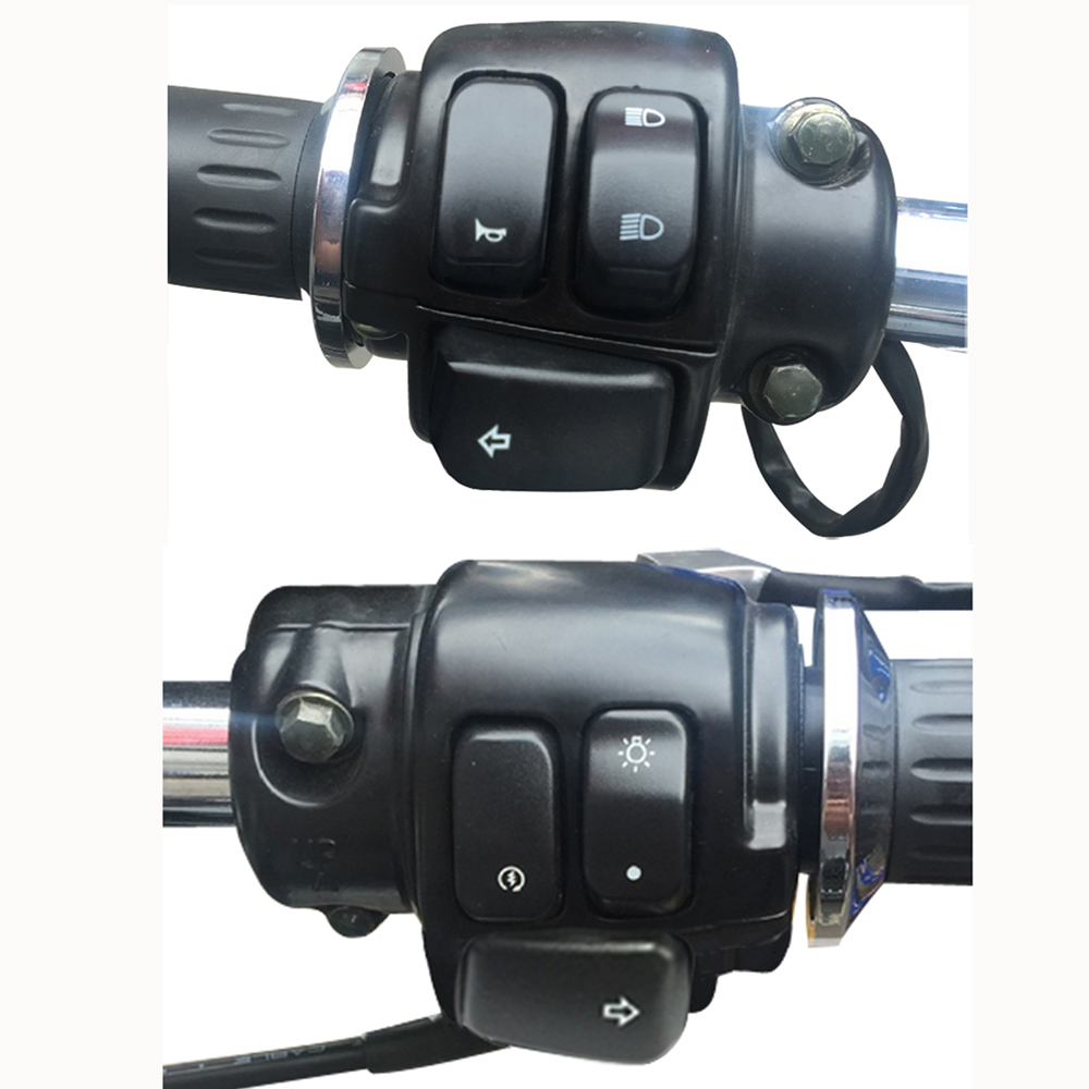 1 25mm aluminum motorcycle handlebar control switches kill start turn signal switch button with wiring harness [ 1000 x 1000 Pixel ]