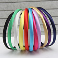 2016 Girls 1CM  Color Satin Covered Resin Hairbands Ribbon Covered  Kids Headbands Children Hair Accessory 5pcs/lot 28colors
