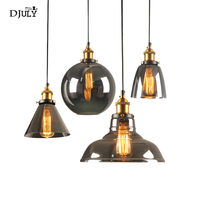 American loft Smoke gray glass pendant lights for dining room cafe country living room suspension luminaire industrial hang lamp