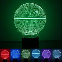 Wrumava 7 planeta del color Arco Iris 3D noche luz USB Led ambiental regalo estrella guerra lámpara de mesa de acrílico