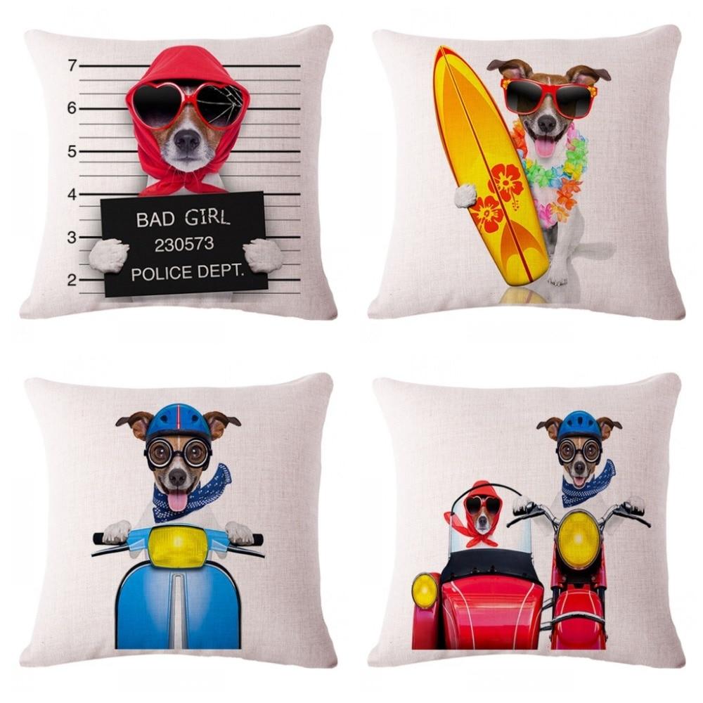 Decorative Dog Cushion Pillows Cartoon Motorbike Surf Dogs Print ...