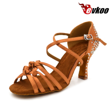 Evkoodance Brown With Rhinestone Salsa Latin Zapatos De Baile Heel Height 8cm Comfortable Latin Dance Shoes Woman Evkoo-411