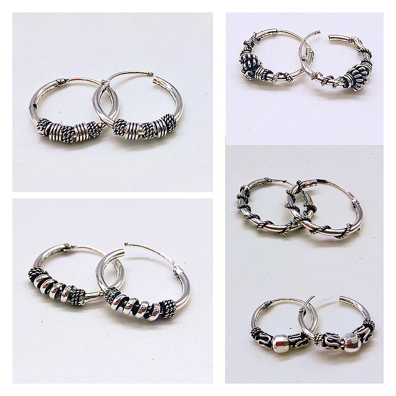 Rinhoo Vintage Silver Color Handmade Earrings Hoops Small Circle Winding Hoop Earrings For Women Fashion Jewelry Accessories