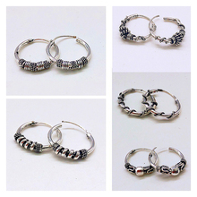 Rinhoo Vintage Silver Color Handmade Earrings Hoops Small Circle Winding Hoop Earrings For Women Fashion Jewelry Accessories