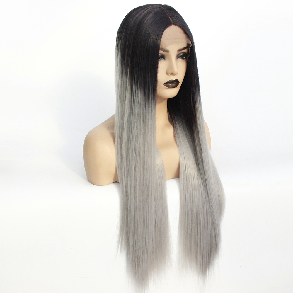 Long Middle Part Wig Ombre Grey Lace Front Wig for Women or Girls Cosplay Daily Party Heat Resistant Full Wigs Straight Real Gray Fiber Wig (Not Human Hair) Half Hand Tied-3