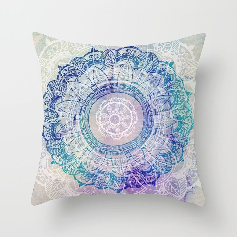 Capa de Almofada Estilo Nórdico Fuwatacchi Aquarela Impresso Mandala Almofadas Decorativas Para O Sofá Carro Fronha Flor Colorida