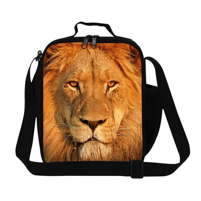 Aislado Fresco Lion Imprimir Estudiantes Bolsa de Almuerzo Bolsa Termica Lancheira Bolsa Portátil Bolsa de Bolsa de Picnic Lunch Box For Kids Animal