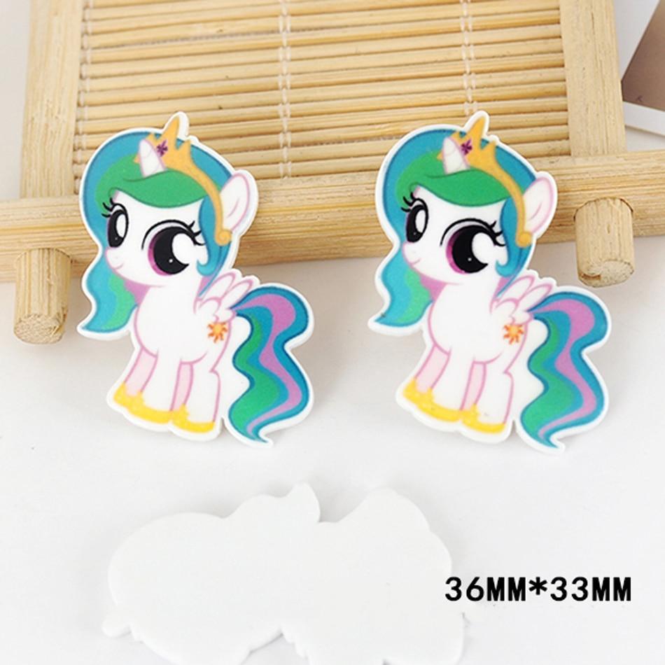 50pcs 36*33MM Cartoon Character Little Horse Resin Flatback Kawaii Planar Resin Craft for DIY Home & Holiday Decoration DL-563