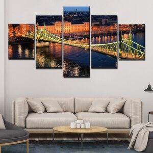 Hd imprime fotos da lona arte da parede moderna 5 peças ponte da cidade quadros cartaz para o quarto decoração casa quadro