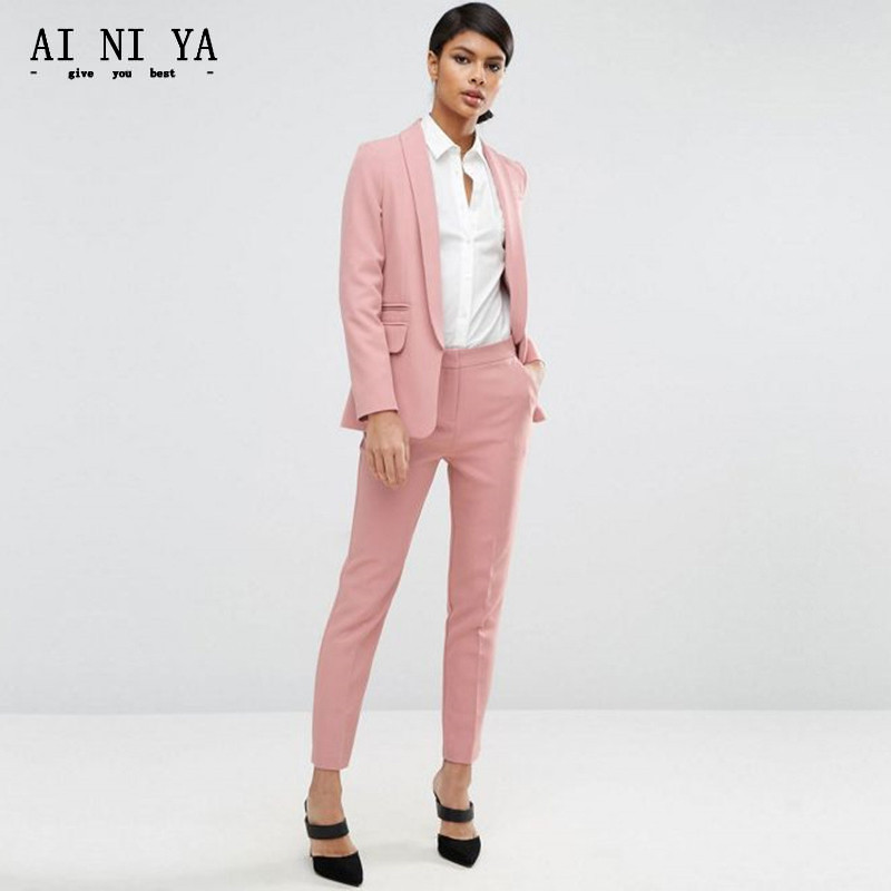Jacket+Pants Design Women Business Suits Slim Female Office Uniform Formal Work Wear Single Breasted 2 Piece Set Custom Made