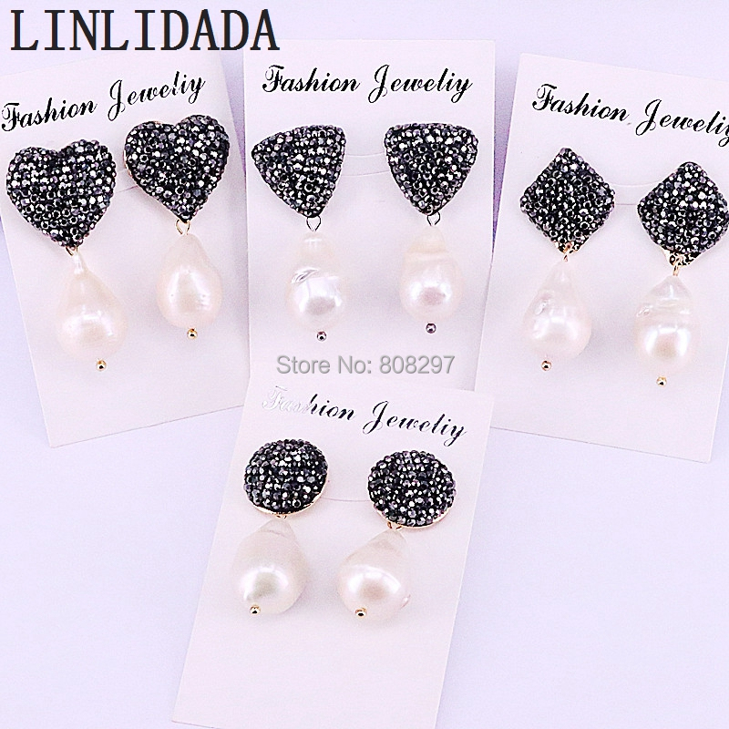 5Pair Natural Freshwater Pearl Earrings Crystal Rhinestone Paved Nature Pearl Women Charm Dangle Earrings
