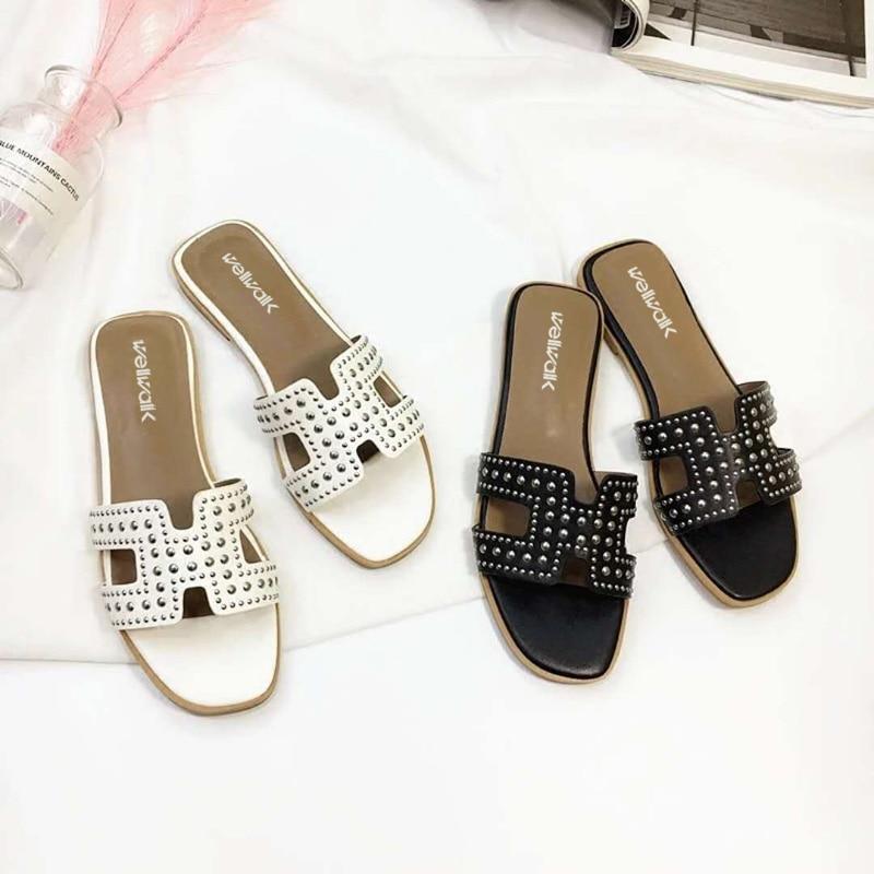 Causal Women Shoes 2018 Fashion Women Rivet Flat Slippers Women H Letter Slides Geometric Summer Basic Women Mules Size 34-38