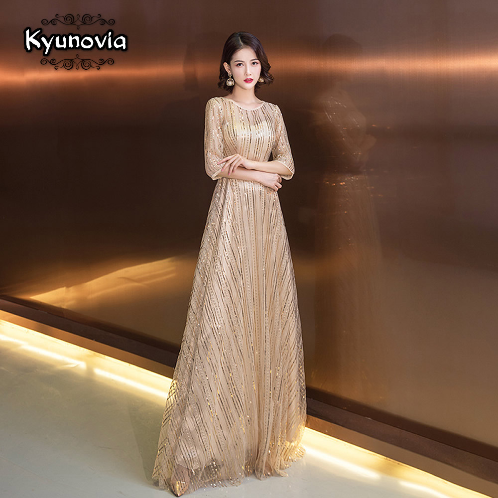 Detail Feedback Questions about Kyunovia 2019 New Straight Long Evening  Dresses O Neck Prom Gowns Shiny Silver Sequins Elegant Evening Dress Gown  E04 on ... 9829566590d5