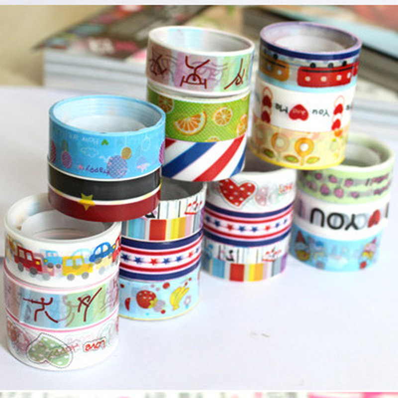 5pcs/set Colored Tape Set Cute Stationery Cartoon Masking Tape Small Decoration Scrapbooking Stickers School Office Supplies