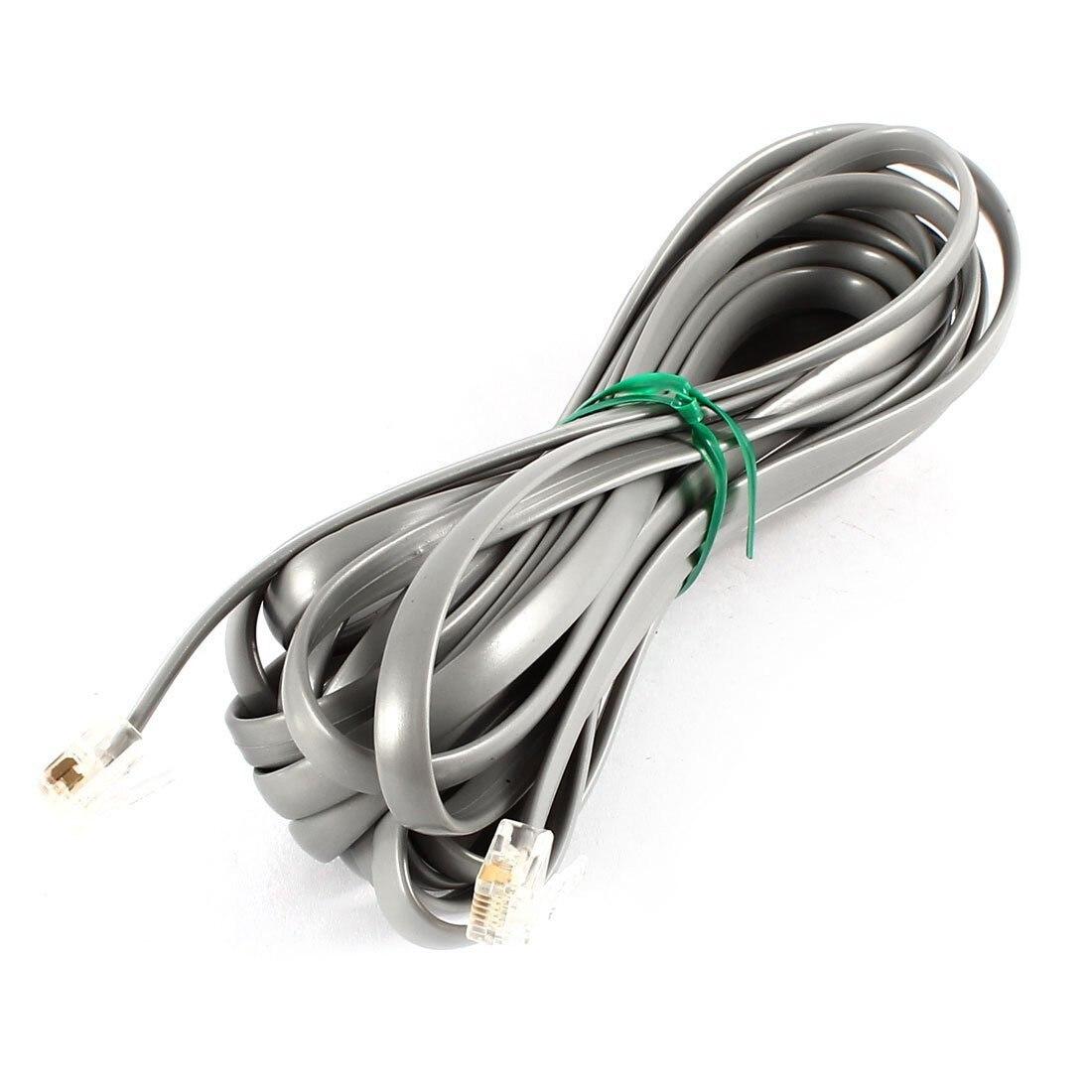 Gray Plastic Noodles 6P6C RJ11 M/M Flat Telephone Cable Cord 5M 16ft