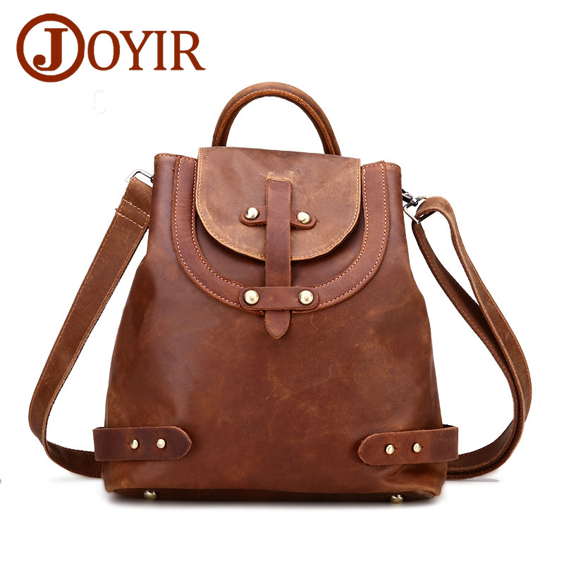 JOYIR NEW fashion crazy horse leather cowhide genuine leather backpack bag woman casual style brown shopping bag women bag 3010 crazy horse genuine leather luxury women vintage backpack oil wax cowhide travel casual designer female retro book daypack bag