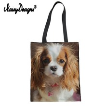 Noisydesigns 2019 Kawaii Women Shopping Handbag Cavalier King Printed Reusable Tote Bags Lady Girl Travel Large Animal Foldable