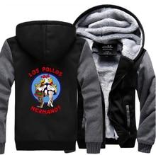 Breaking Bad LOS POLLOS Hermanos Thick Hoodies Men 2017 New Winter Warm Fleece Mens Sweatshirt Hooded Chicken Brothers Jacket