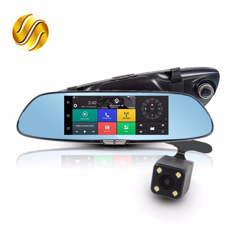 Viecar 7 Car DVR in Mirror + Rear View Camera 3G Android GPS Navigation Bluetooth WIFI Dual Lens HD Recorder 1080P Dash Cam e ace car dvr android touch gps navigation rearview mirror bluetooth fm dual lens wifi dash cam full hd 1080p video recorder