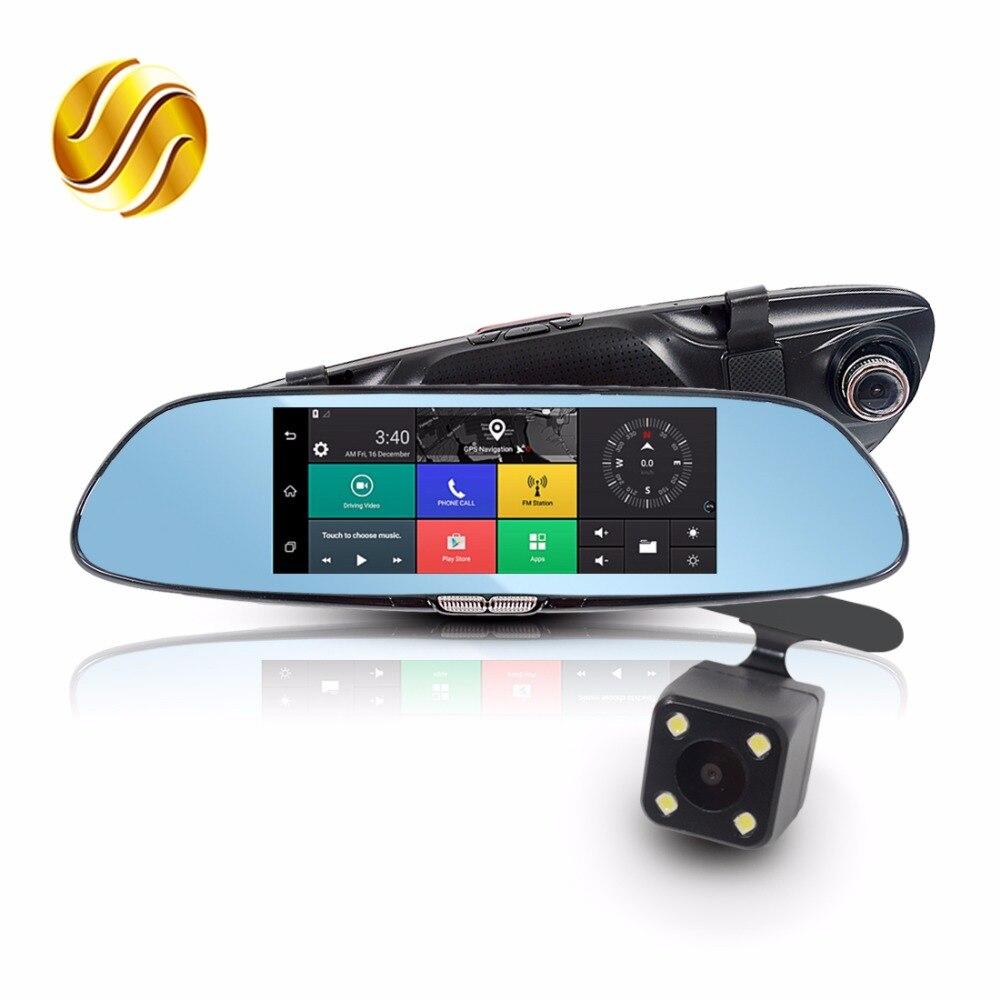Viecar 7 Car DVR in Mirror + Rear View Camera 3G Android GPS Navigation Bluetooth WIFI Dual Lens HD Recorder 1080P Dash Cam