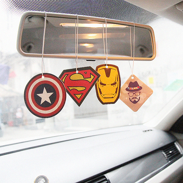 2pcs Truck Car Hanging Perfumed Fragrance Papers For Hero Air Freshener Car Perfume  Air Freshener Captain America Superman 5
