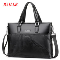 BAILLR Brand Man Bag Leather Briefcase Men Business Handbag Messenger Bags Male Vintage Men S Shoulder