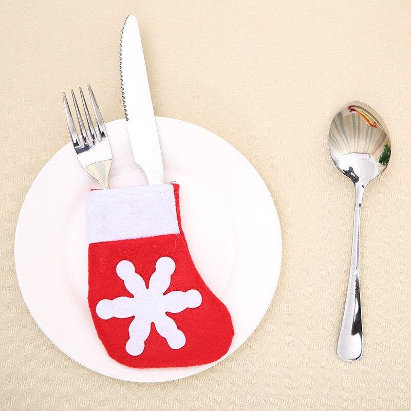 Шляпа Санты, олень, Рождество, Год, карманная вилка, нож, столовые приборы, держатель, сумка для дома, вечерние украшения стола, ужина, столовые приборы 62253 - Цвет: K