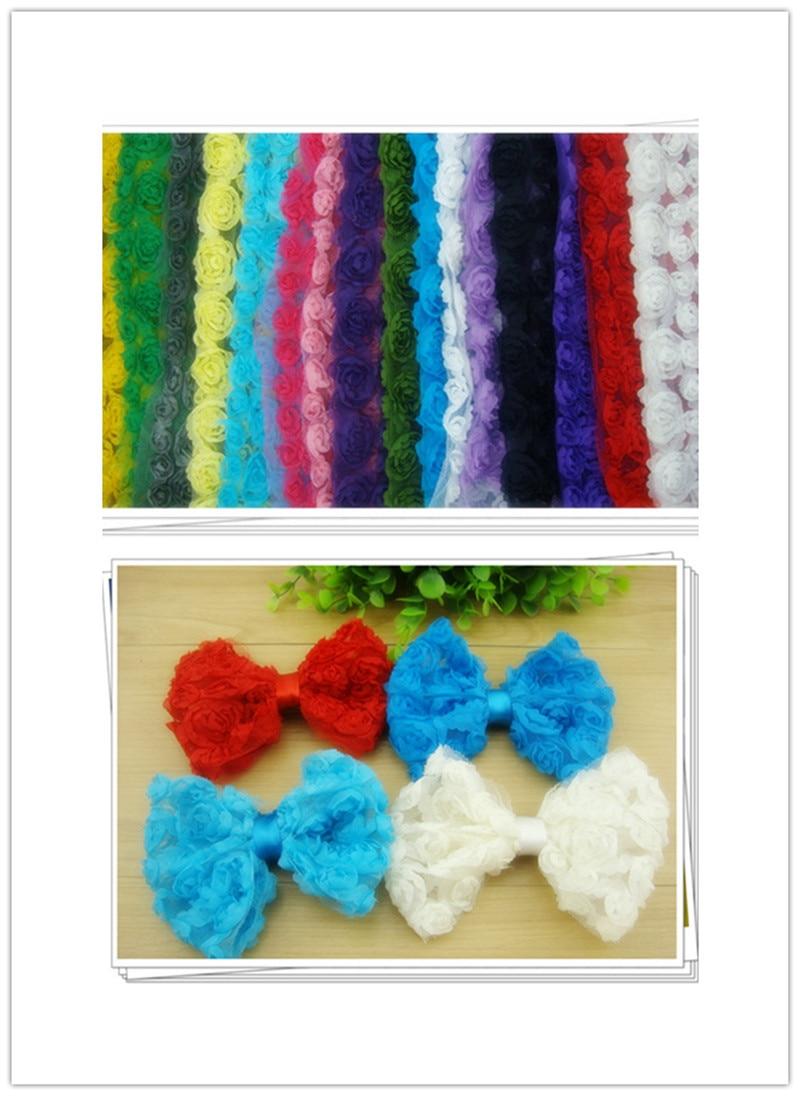 Free Shipping 17 Colors 11CM Chiffon Flower Lace 6 Line Chiffon Flower Trim DIY Rose Bows Rosette Bows