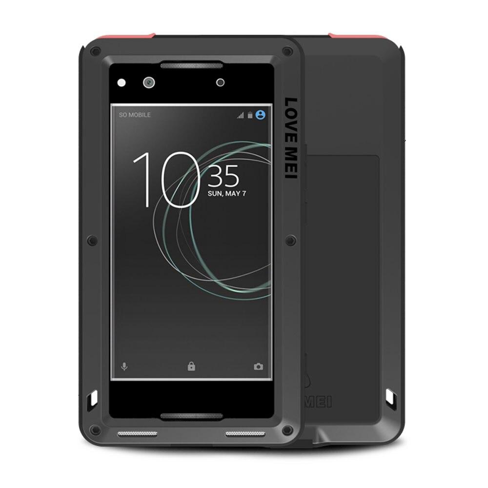 imágenes para Amor Mei para SONY Xperia XA XA Dual XA Ultra Caso para SONY XA1 XA1 Ultra Armadura A Prueba de Golpes A Prueba de agua Cubierta de Metal Templado vidrio