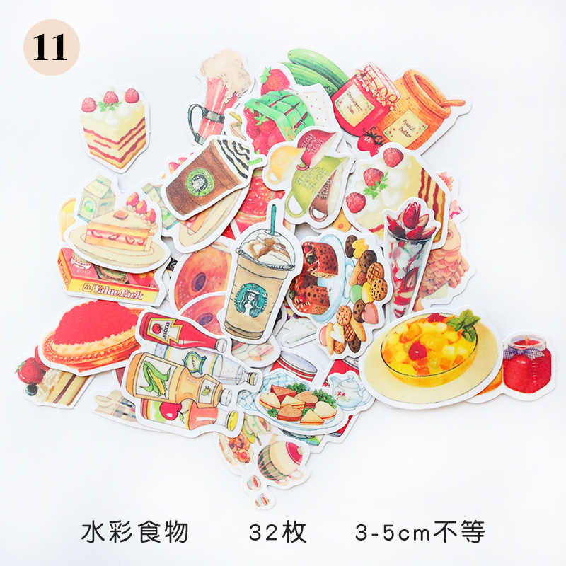 1Pcs/Sell Watercolor Food Stationery Stickers Pack Posted It Kawaii Planner Scrapbooking Memo Stickers Escolar School Supplies