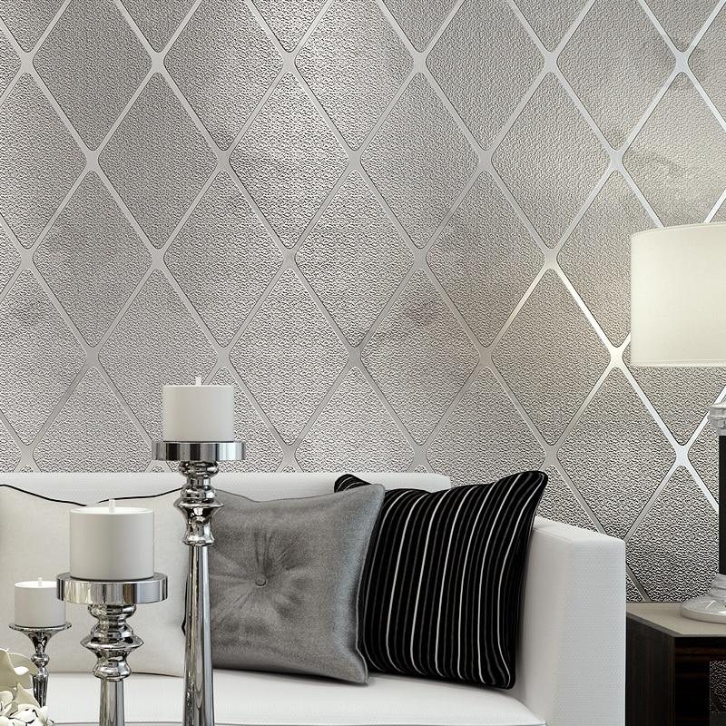Papier peint Non-tissé de tissu pour des murs roulent le papier peint rayé stéréoscopique moderne du treillis 3D pour la maison de décoration de salon