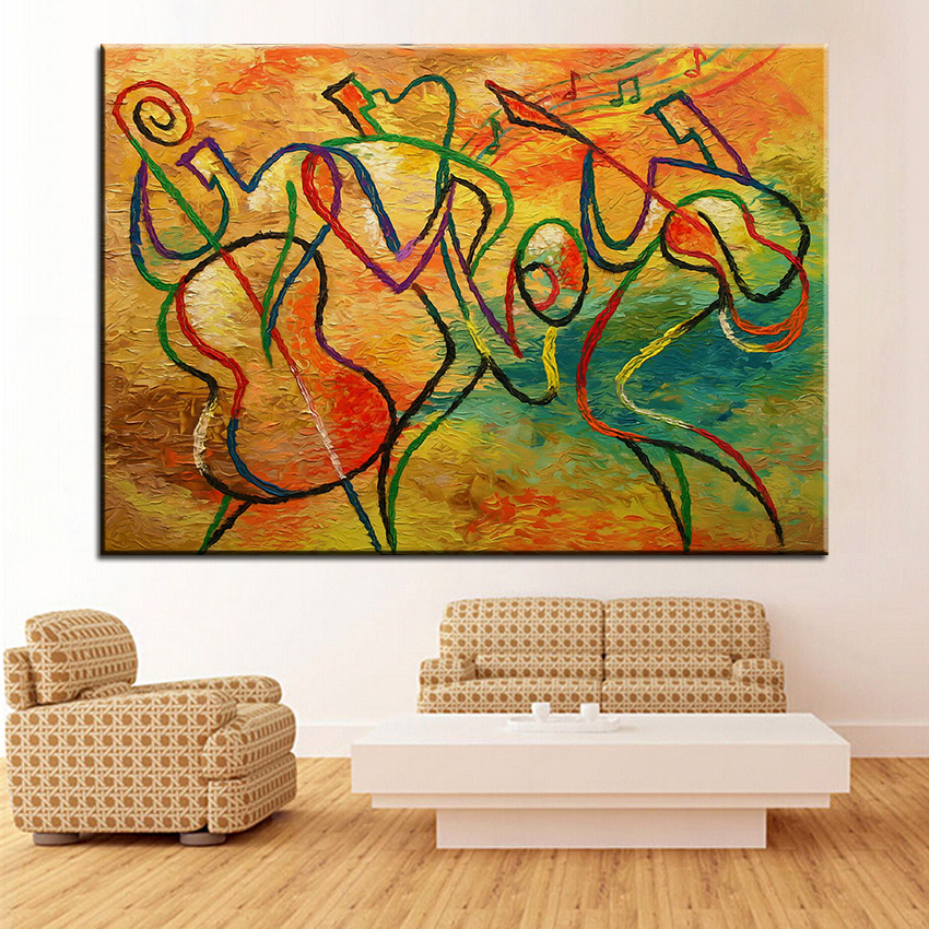 Large size Printing Oil Painting jazz funk 2 Wall painting Home Decorative  Wall Art Picture For Living Room painting No Frame