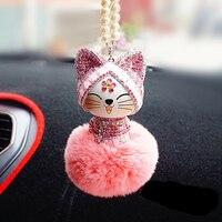 Car Pendant Cute Lovely Chinese Style Lucky Cat Rhinestone Cartoon Plush Fur Ball Decoration Hanging Ornaments