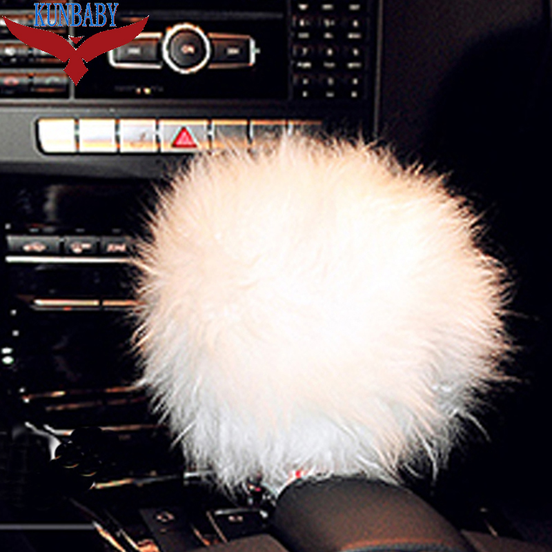 KUNBABY 1 Pcs Fashion Car Accessory Long 100% Woolen Sheep Fur Plush Shift Knob Cover Pink/Black/White/Red/Purple/Light Blue