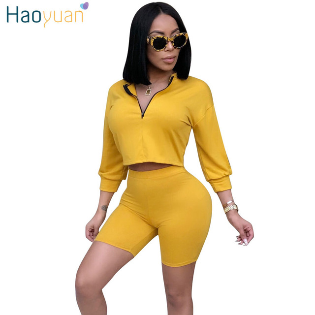 HAOYUAN Sexy 2 Piece Set Women Clothes Top+Biker Shorts Sweat Suits Summer Club Outfits Two Piece Matching Sets Casual Tracksuit