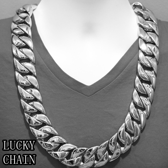 """HIGH QUALITY MEN'S BIKER STAINLESS STEEL CUBAN LINK CHAIN SILVER NECKLACE(SUPER HEAVY)(28""""x 31mm)"""