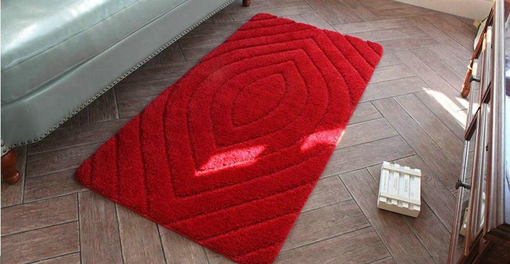 NiceRug tapis de salle de bain antidérapant rouge foncé microfibre tapis de salon tapis de sol/tampons pour la décoration de la porte de plancher de cuisine - 5