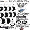 Solarparts KITS del Sistema fuera de la red Solar universal 1000 W panel solar flexible 1 unids 60A controlador, 2 sets 4 in1 MC4 cable adaptador