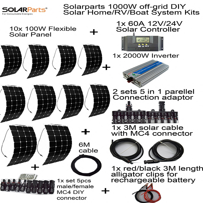 Solarparts off-grid universal Solar System KITS 1000W flexible solar panel 1pcs 60A controller ,2 sets 4 in1 MC4 adaptor cable solarparts 100w diy rv marine kits solar system1x100w flexible solar panel 12v 1 x10a 12v 24v solar controller set cables cheap