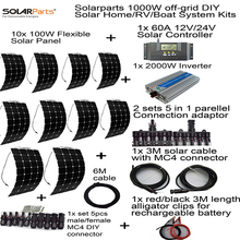 Solarparts off-grid universal Solar System KITS 1000W flexible solar panel 1pcs 60A controller ,2 sets 4 in1 MC4 adaptor cable