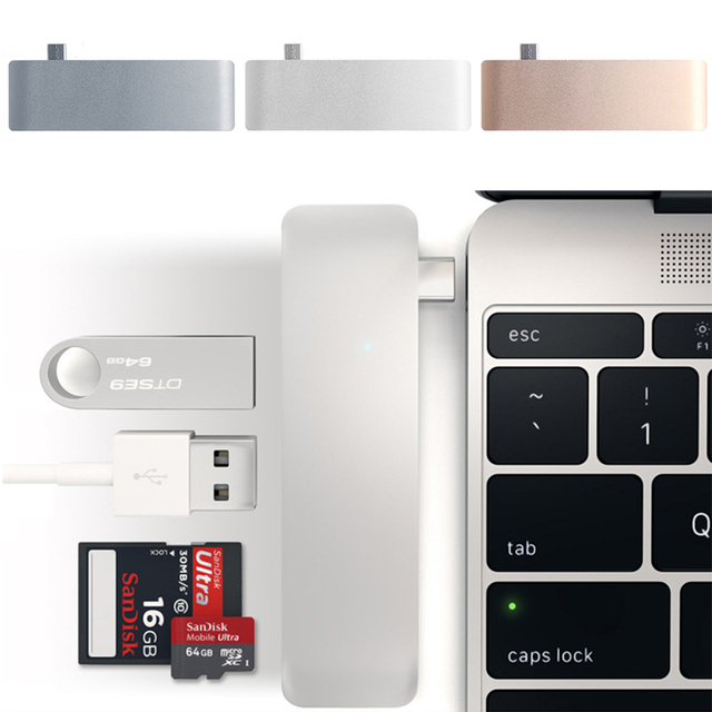 5In1 USB C 3.1 Type C Hub Power Delivery PD-Power High Speed USB 3.0 Combo Splitter SD/TF Card Reader For Dell MacBook 3
