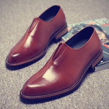 Misalwa Wooden Sole Mens Pointed Retro Casual Formal Shoes Barber Business Korean Men shoes Claret Charm Oxfords Leather Shoe