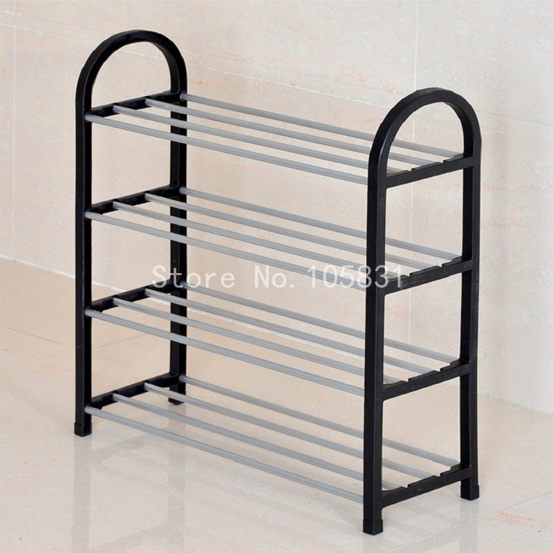 ФОТО Modern anti-rust steel PP material creative floor shoe rack stackable stand four layer multicolor porch storage shelf
