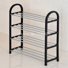 Modern anti-rust steel PP material creative floor shoe rack stackable stand four layer multicolor porch storage shelf