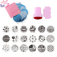 24Pcs Nail Stamping Plates Polish Stencils For Nails 1Pcs Pink Case For 5 7 Disc Template