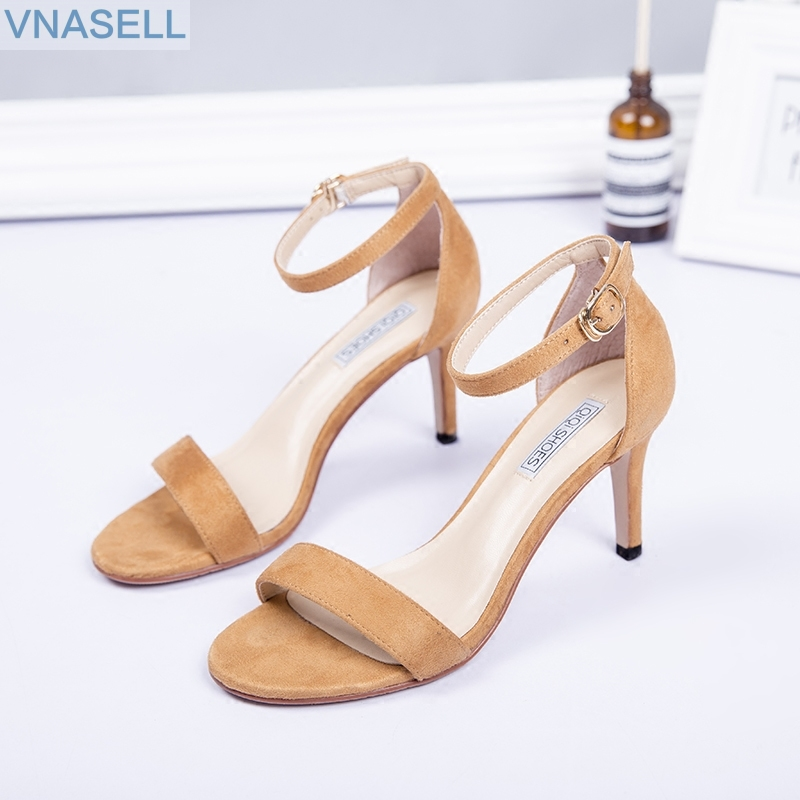 2019 spring and summer ladies style high heels open toe word ankle strap female sandals