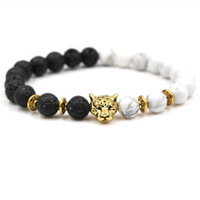 New Fashion Natural Stone Bracelet For Women Men Classic Black and White Beads Leopard Head Charm Bangles Jewelry gift